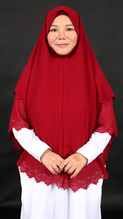 IMANI LASER CUT KHIMAR in CHERRY