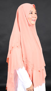 IMANI LASER CUT KHIMAR in BUTTERSCOTCH