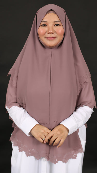 IMANI LASER CUT KHIMAR in SUGAR PLUM