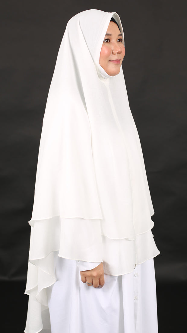 HUMAIRAH KHIMAR in WHITE