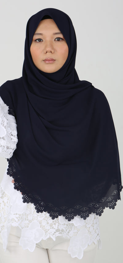 Imani Laser Cut Shawl in Dark Night Blue