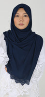 Imani Laser Cut Shawl in Denim