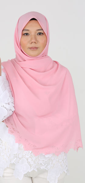 Imani Laser Cut Shawl in Flamingo