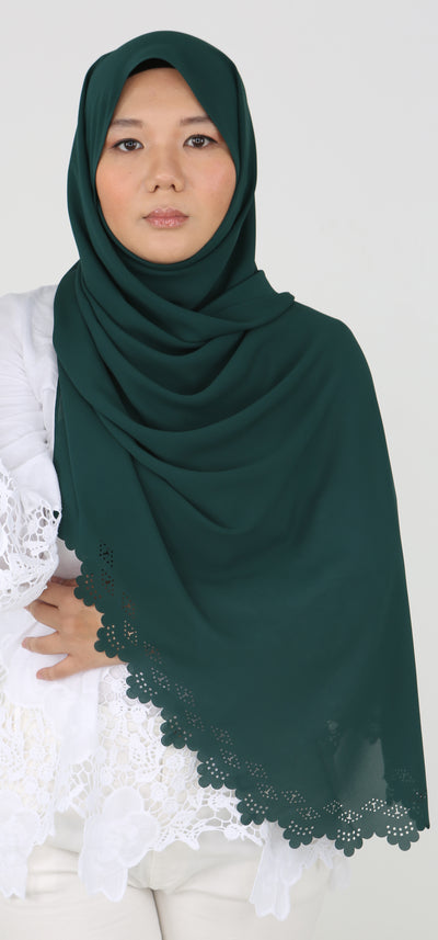 Imani Laser Cut Shawl in Holly Green