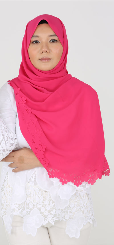 Imani Laser Cut Shawl in Hot Pink