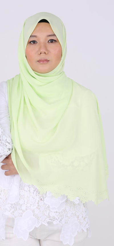 Imani Laser Cut Shawl in Lime