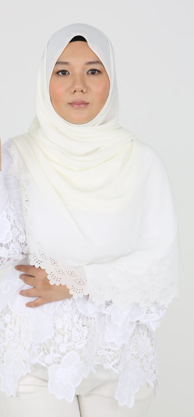 Imani Laser Cut Shawl in Off White