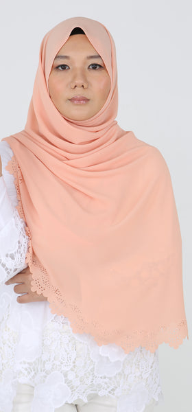Imani Laser Cut Shawl in Peach