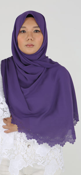 Imani Laser Cut Shawl in Plum