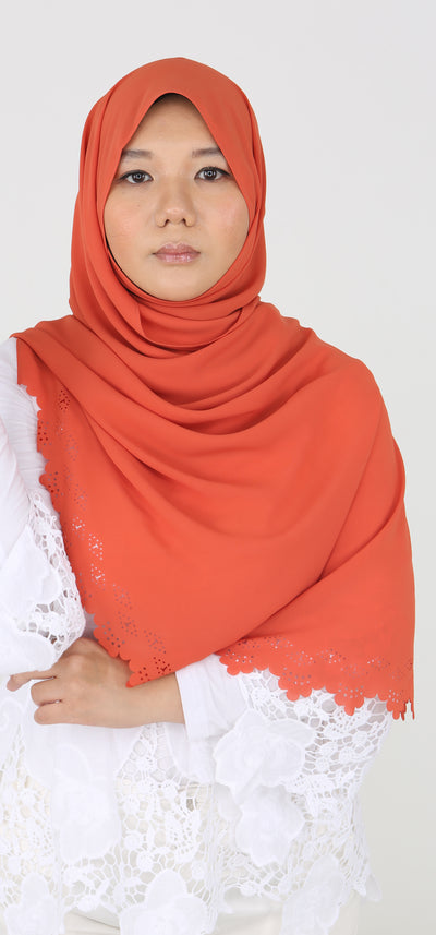 Imani Laser Cut Shawl in Pumpkin