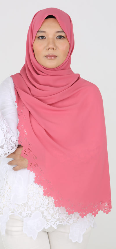 Imani Laser Cut Shawl in Rouge