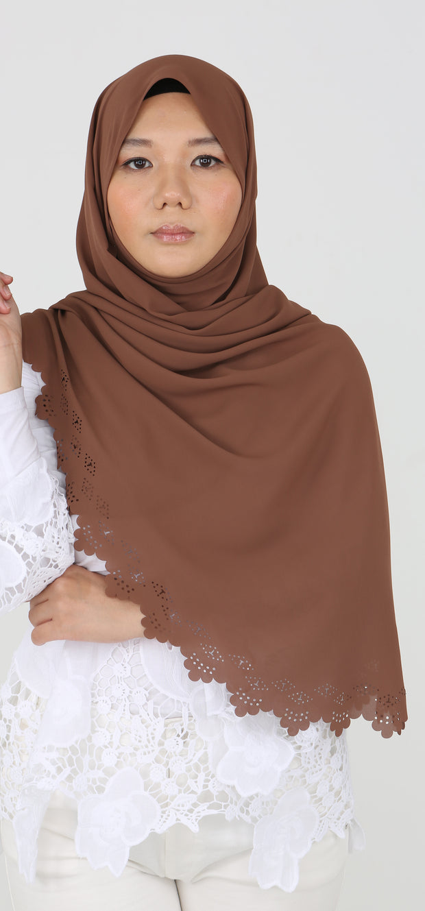 Imani Laser Cut Shawl in Sahara Brown
