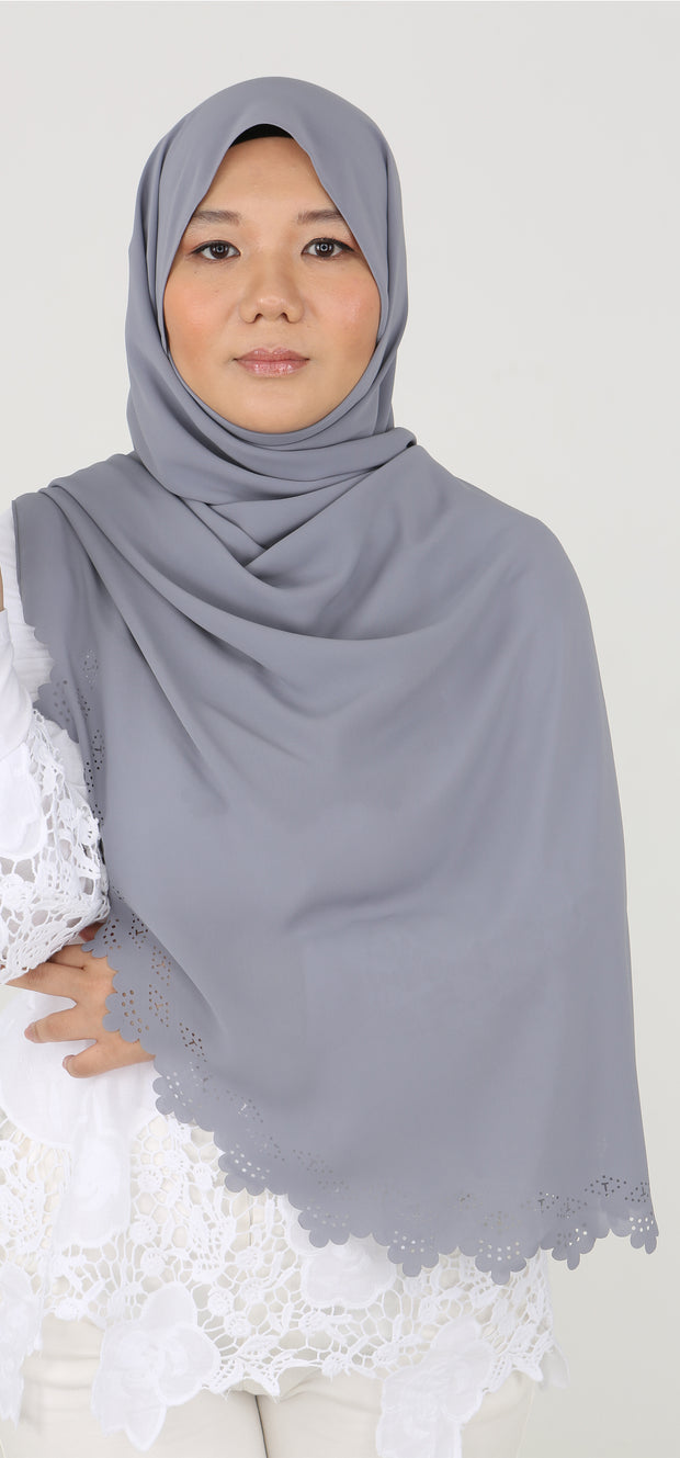 Imani Laser Cut Shawl in Silver Coin