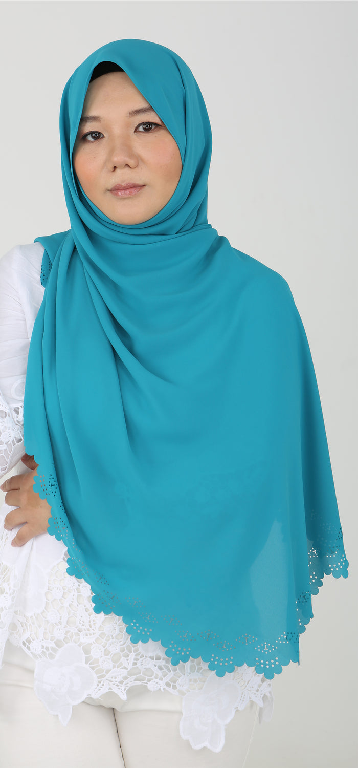 Imani Laser Cut Shawl in Teal