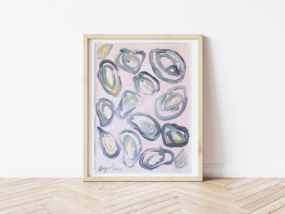 Painting On Paper // A Dozen Oysters, Soft Pink