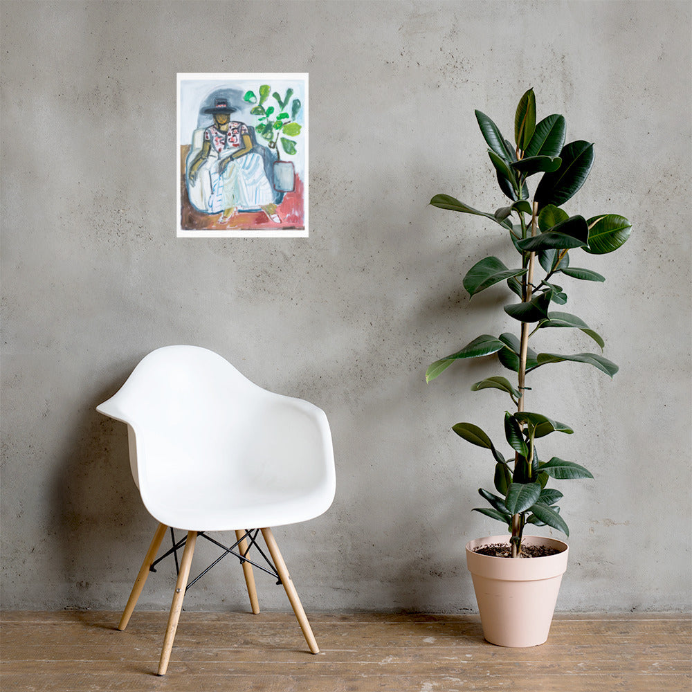 Poster // Signora In Hat With Fiddle Leaf Fig