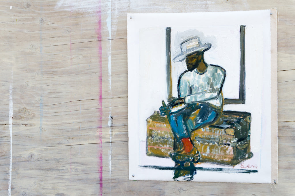 Painting // Handsome Man In Hat (Sitting On Trunk)
