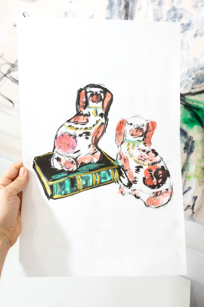 Hand-Embellished Print // Staffordshire Dogs (Copper)