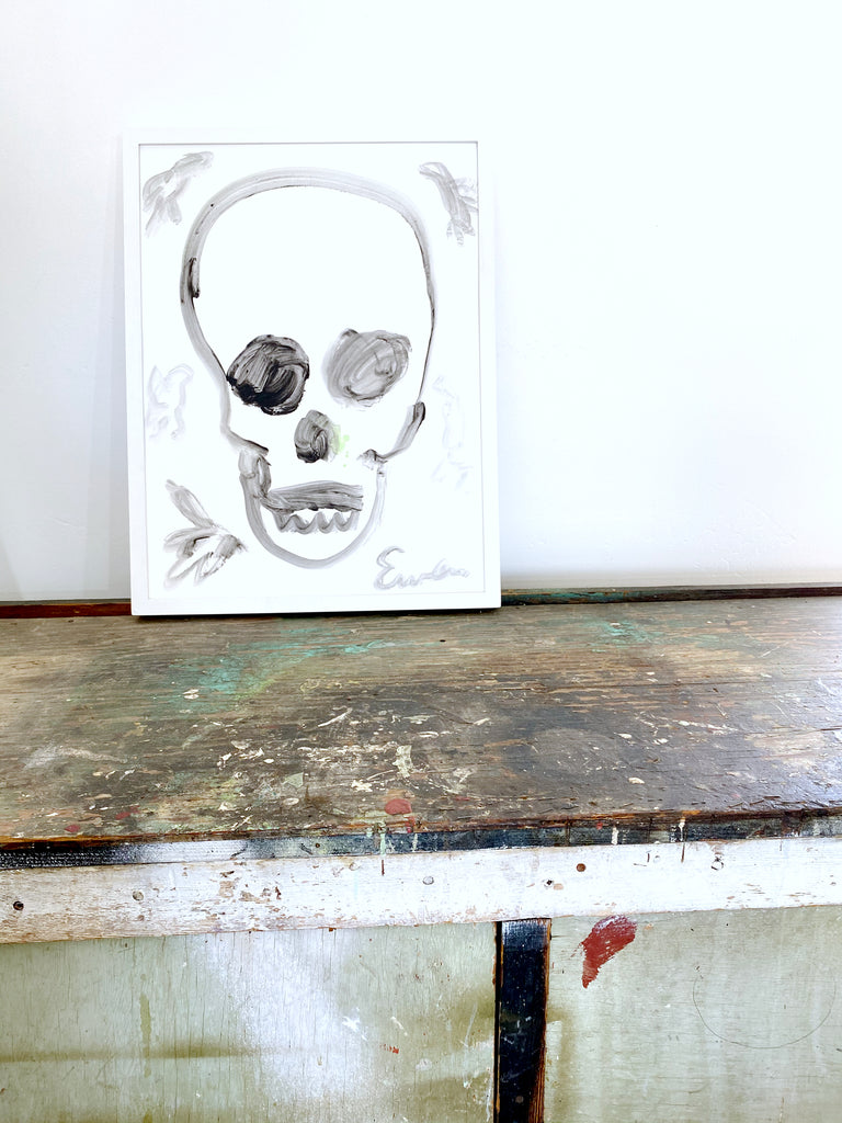 Painting On Paper // Skull (Black & White with Birds)