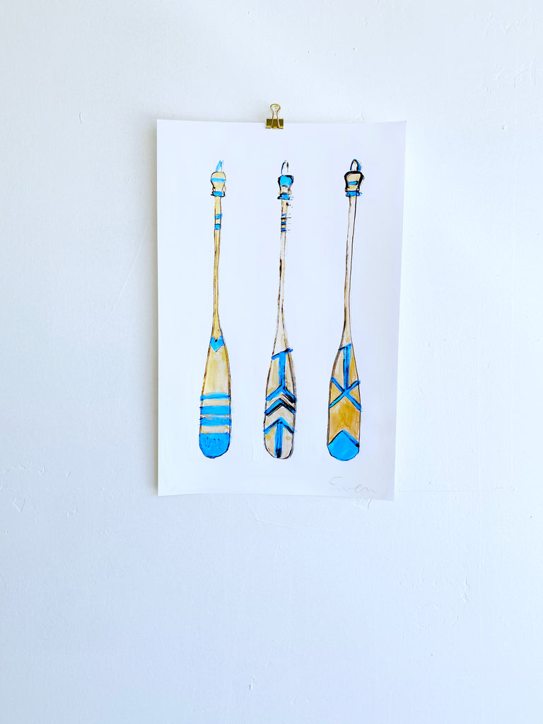 Hand Painted Multiple // Three Paddles, Blue & Gold