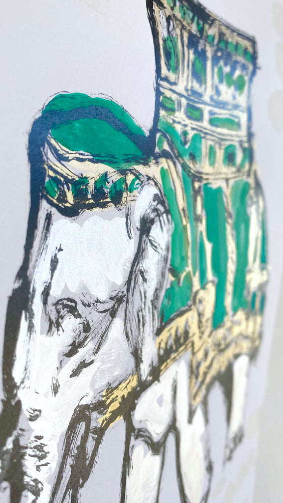 Hand Painted Multiple // Royal Elephant, Emerald