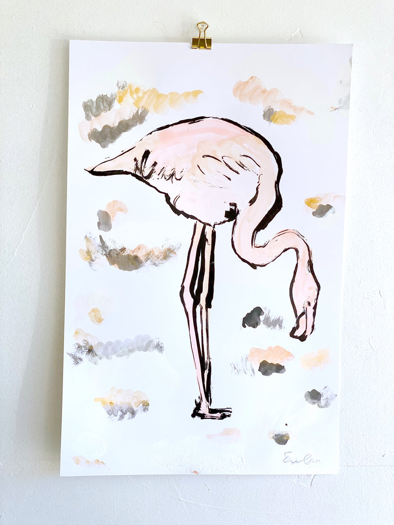 Hand Painted Multiple // Rose Gold Flamingo No. 2