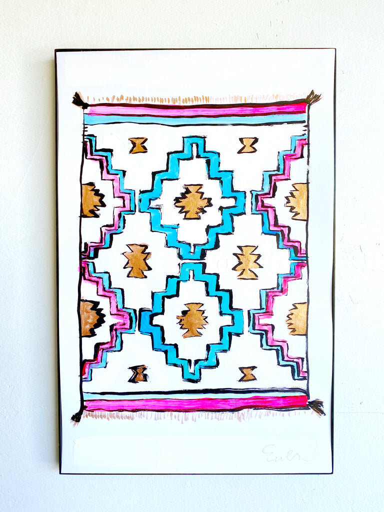 Hand Painted Multiple // Woven Blanket: Gold, Pink & Blue
