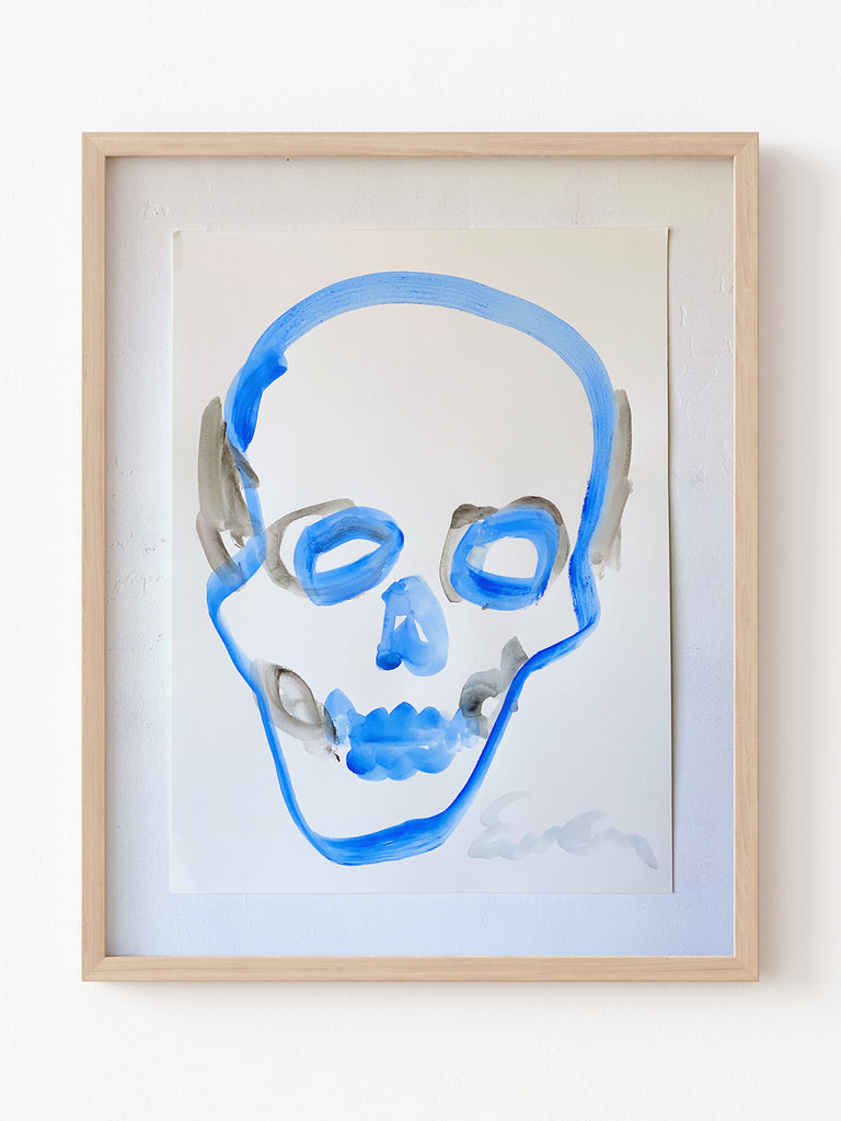 Painting On Paper // Skull (Blue)