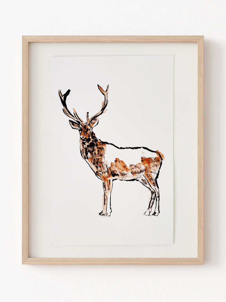 Hand Painted Multiple // Copper Stag, Left
