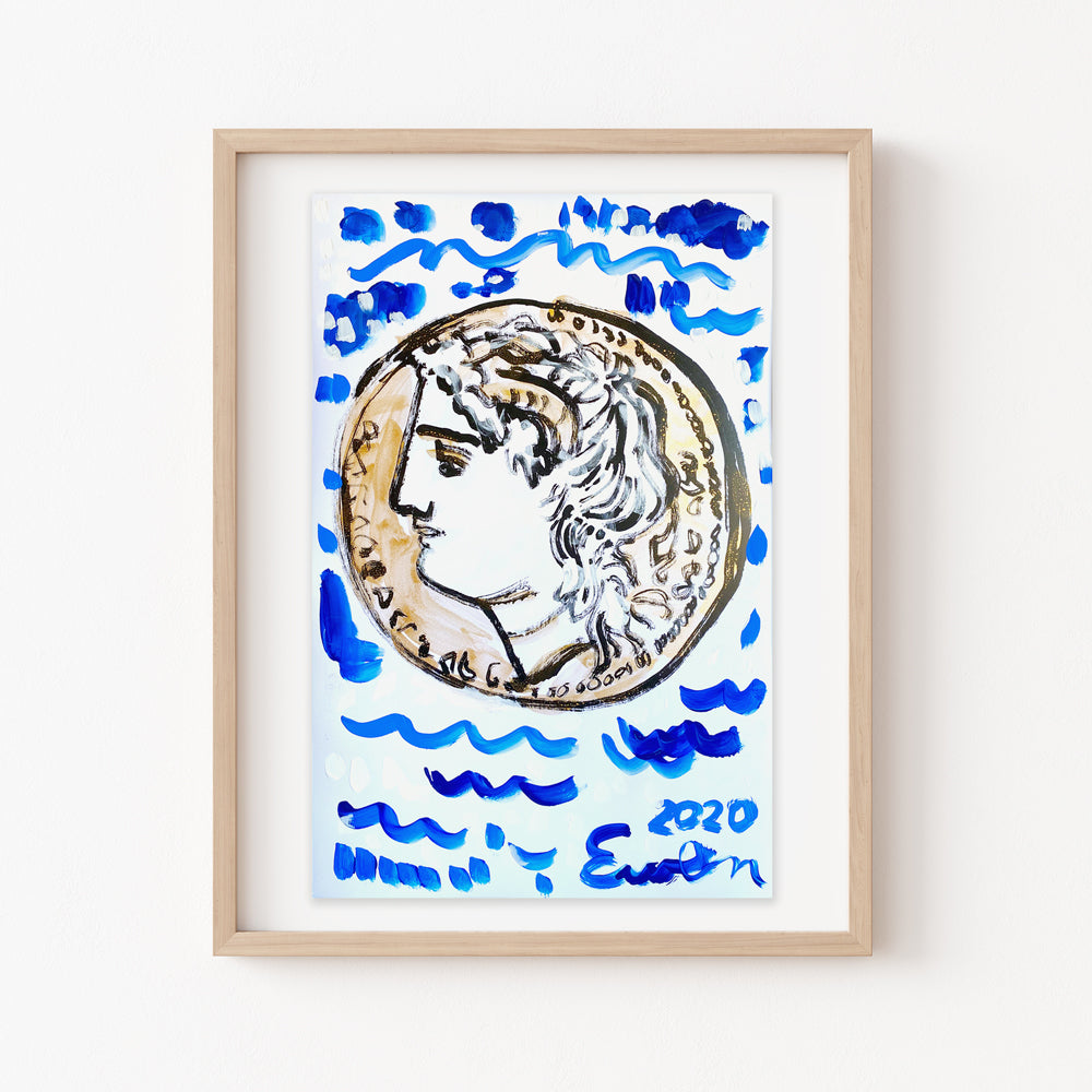 Hand Painted Multiple // Antiquities, Gold Coin with Blue Waves