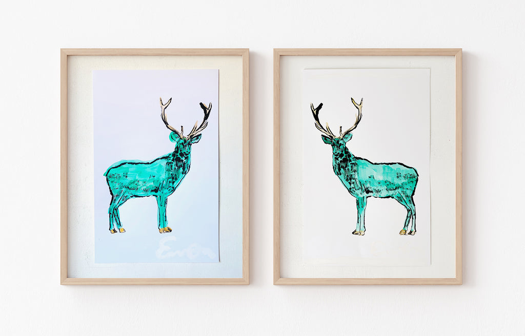 Hand Painted Multiple // Emerald Stag with Gold Antlers, Right