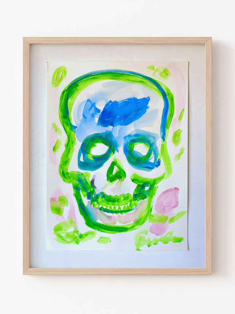 Painting On Paper // Skull (Green with Pink Blossoms)