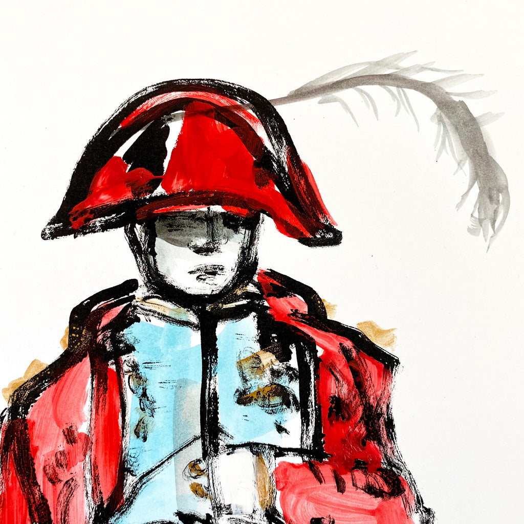 Hand Painted Multiple // Napoleon No. 7 :  Red, Turquoise & Gold with Feather
