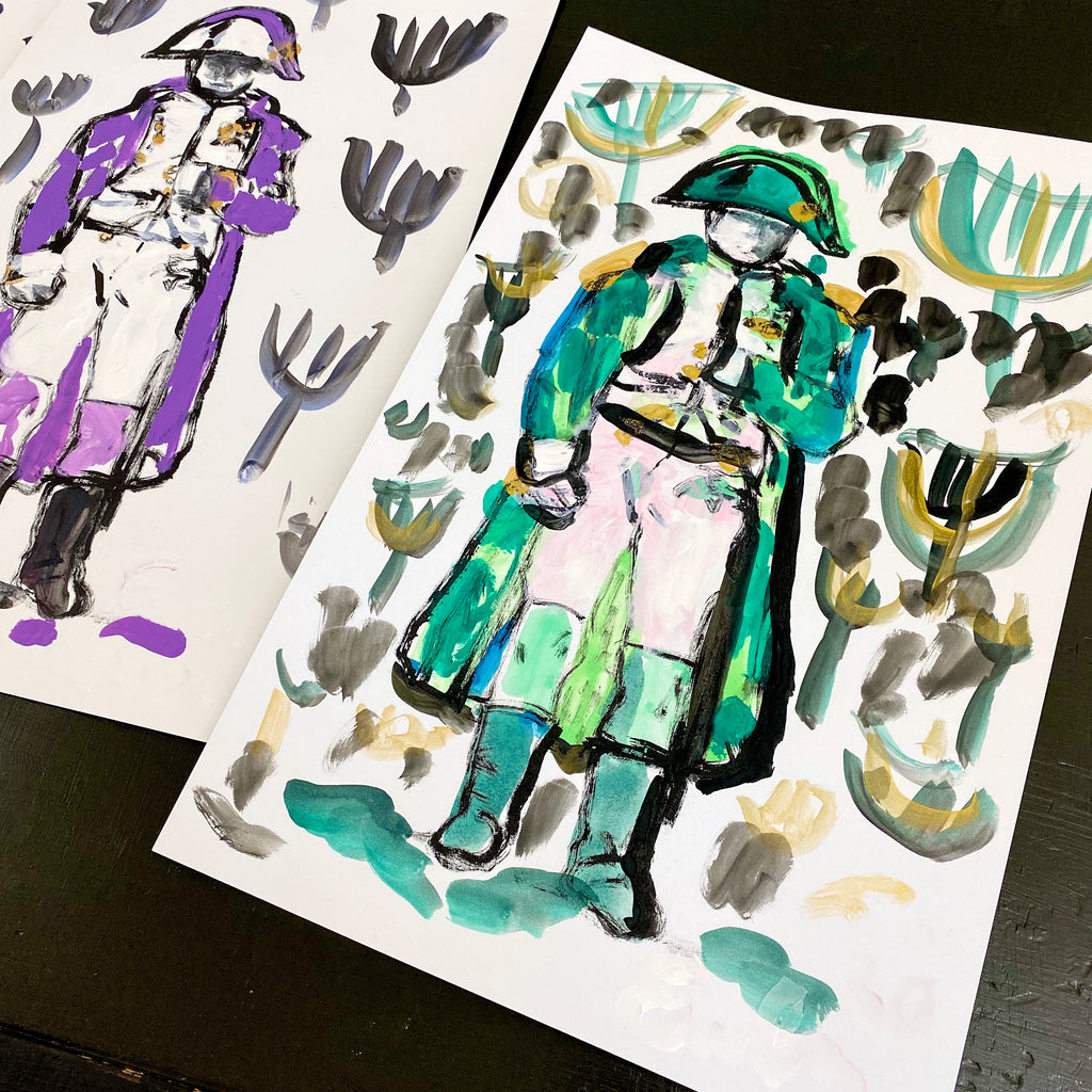 Hand Painted Multiple // Napoleon No. 5 :  Emerald, Pink & Gold
