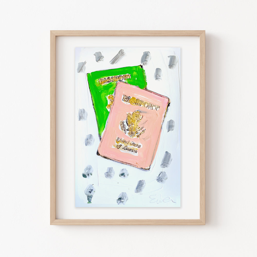 Hand Painted Multiple // Passports, Pink & Green
