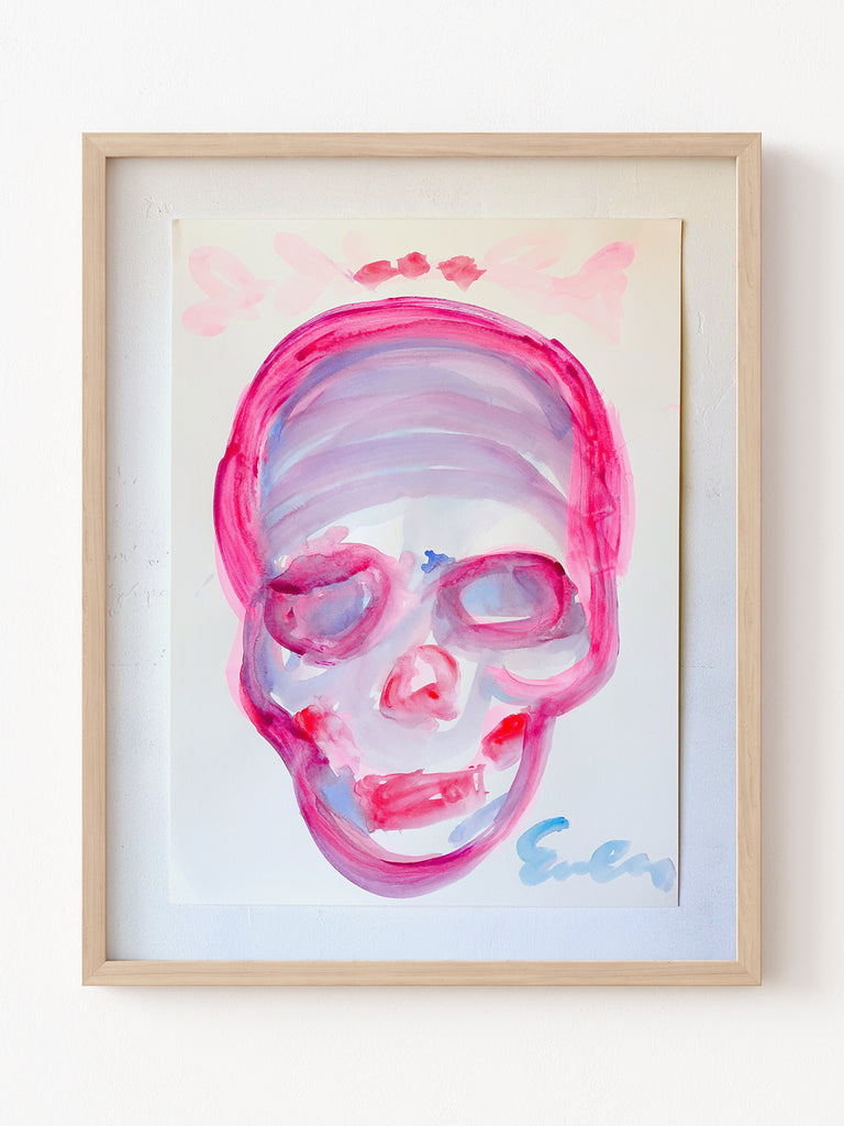 Painting On Paper // Skull (Pink with Laurels)