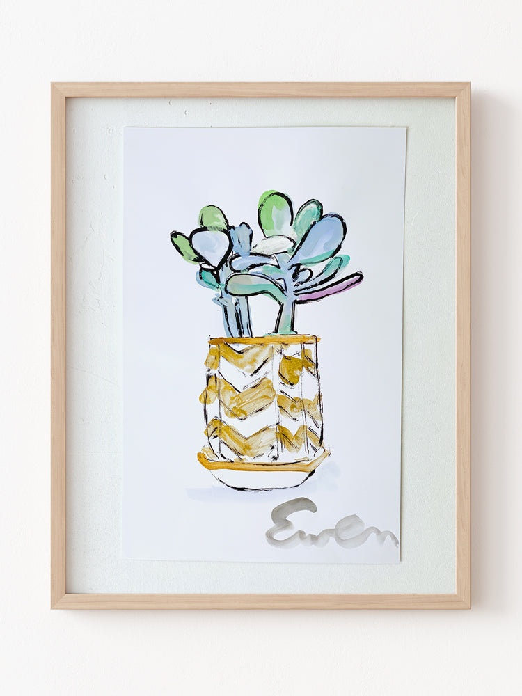 Hand Painted Multiple // Succulent in Gold Chevron Pot No. 2