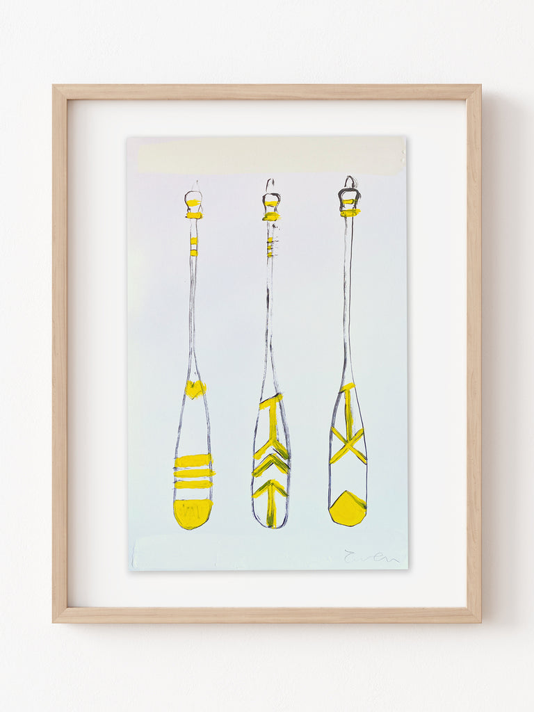Hand Painted Multiple // Three Paddles, Yellow
