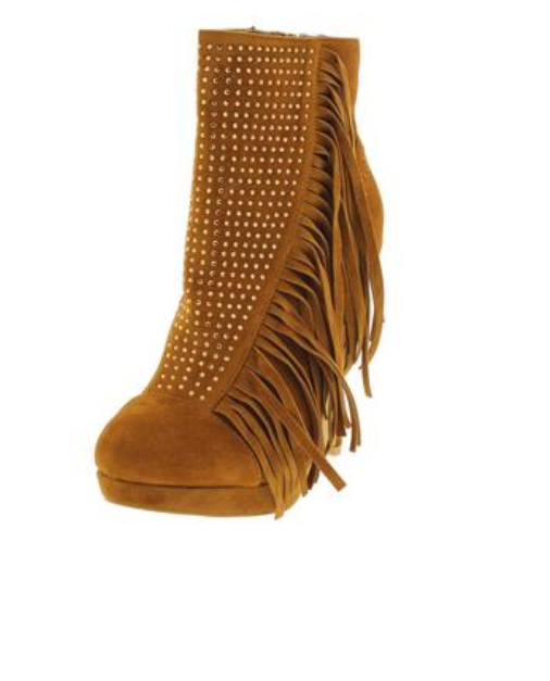 Tan Rhinestone Ankle Boots