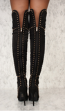 Black Studded Thigh High Boots