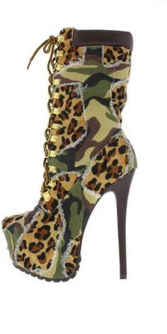 Army Leopard Stiletto Boots