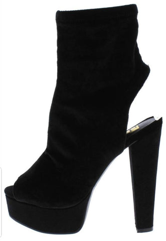 Black Velvet Cut Out Peep Toe Platform Boots