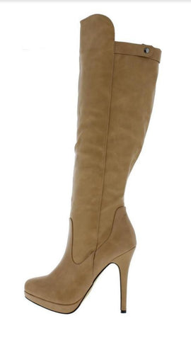 Nude Knee High  Stiletto Boots