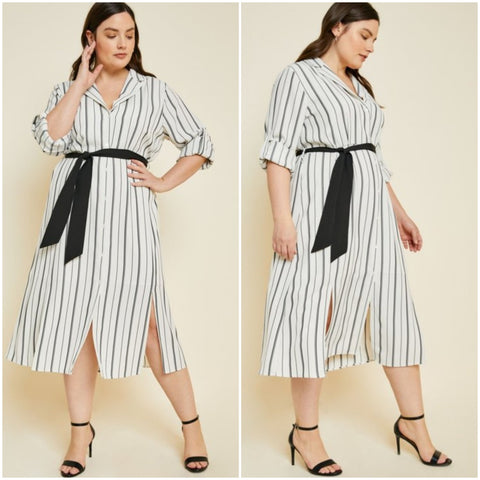 Stripe Tie Midi Dress