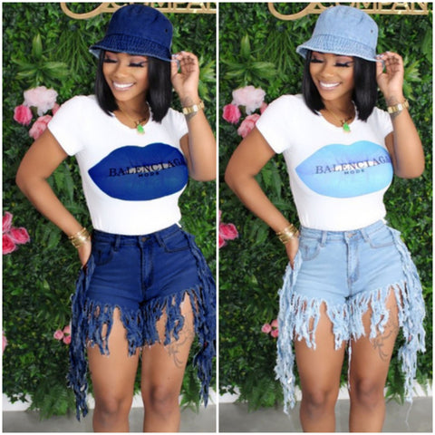 Tassel Denim Shorts