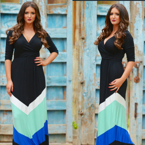 Chiffon Blue Maxi Dress