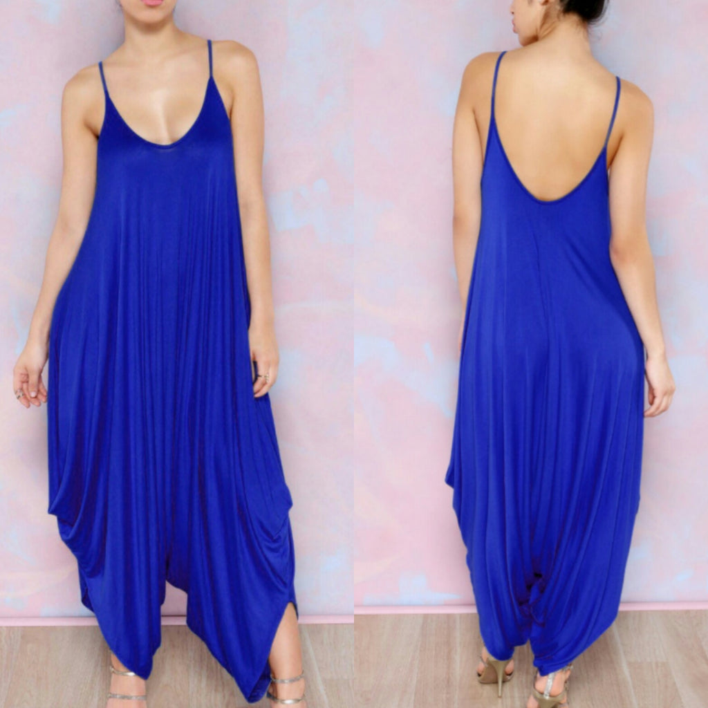 Women's Blue Loose Jumpsuit
