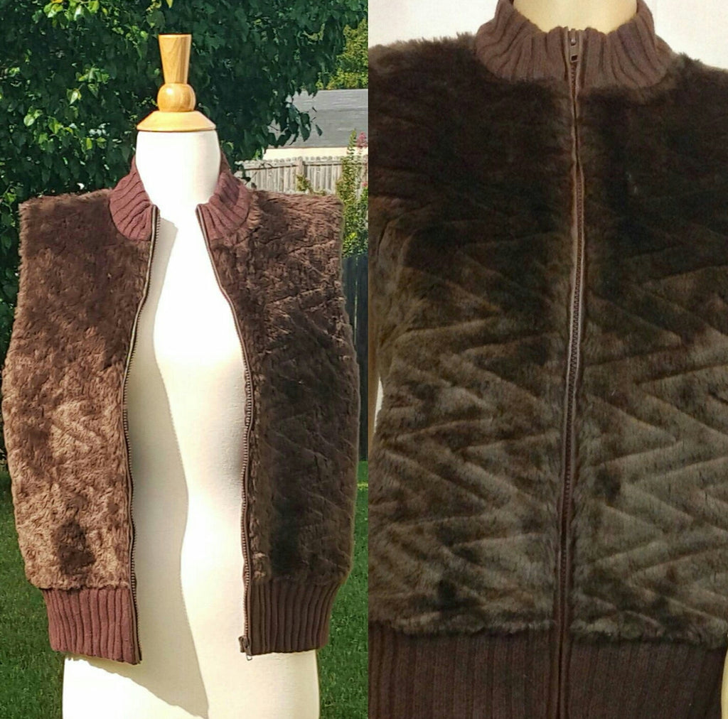 Brown Zippered Faux Mink Vest
