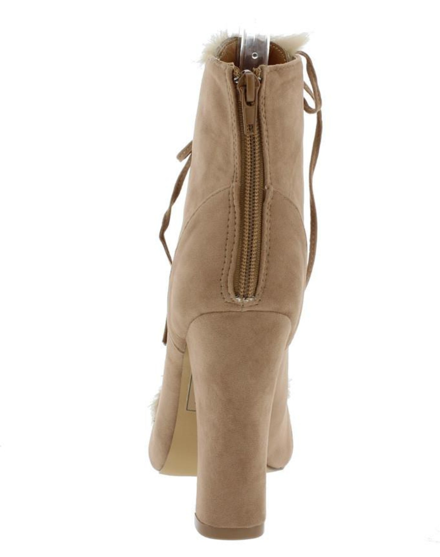 Taupe Suede Fuzzy Lace Up Boot