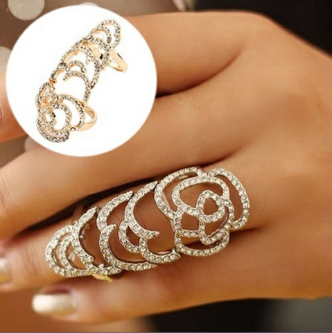 Hollow Rose Flexible Ring